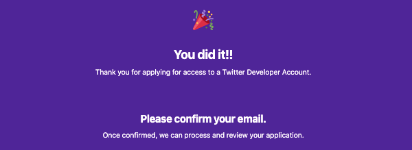 Twitter developer account email confirmation